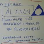 Foto: Flipchart mit Hinweis zu Al-Anon